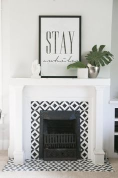 55 Small Fireplace Makeover Ideas – Home Ideas Fireplace Tile Surround, Small Fireplace, Fireplace Surrounds, Fireplace Design, Fireplace Mantels, Tiled Fireplace, Mantles, Above Fireplace Ideas, Modern Fireplace Decor
