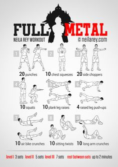 Fullmetal Workout ***THANK YOU FOR SHARING***  Follow or Friend me I'm always posting awesome stuff: http://www.facebook.com/tennie.keirn  Join Our Group for great recipes and diy's: www.facebook.com/groups/naturalweightloss1