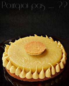 L'idée est partie de la photo d'une tarte de Quentin Bailly (vue sur FB), un palet de pommes caramélisées entouré d'une chantilly. Comme ...