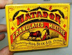 OLD 1930'S MATADOR SQUARE CORNER TOBACCO TIN - BECK TOBACCO CO CHICAGO  $90.00