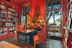 All my favorite things, a beautiful view, herringbone flooring, books, and gorgeous antiques.  AD