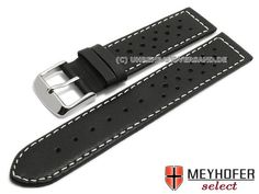 577f7165666d6 Watch strap -Alton- black calf´s leather racing look light stitching by  MEYHOFER (width of buckle 20 mm) - Bild vergrößern