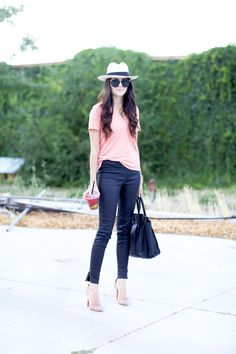 For a chic, polished look, opt for a legging with a zipper detail and pair with neutral pumps.