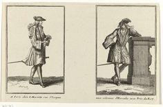 Twee mannen gekleed volgens de Franse mode van ca. 1696, Jean Mariette, Anonymous, , 1690 - 1700