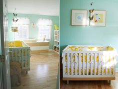 I can't decide if I like this better for a nursery or my room! Grey Nursery Boy, Yellow Nursery, Nursery Neutral, Nursery Room, Nursery Decor, Bedroom, Teal Baby Rooms, Creative Kids Rooms, Nursery Inspiration