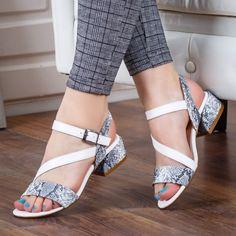Sandale dama Parly albe cu toc gros -rl