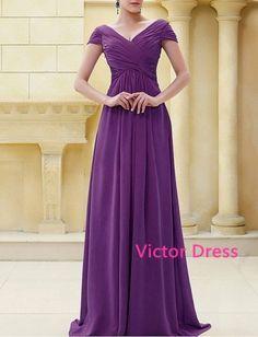Glamorous A-line V-neck Cap Sleeves Floor Length Mother of the Bride Dresses/Custom Colour/Custom Size