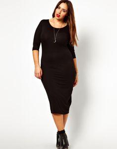 013c76f3308 Adult Black Plus Size Fishnet Detail Long Sleeve Bodycon Dress