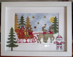 Tinyrose's Craft Room: Christmas Frame - Santa and his Sleigh made with the Stampin Up Santa's Sleigh stamp and matching die sets
