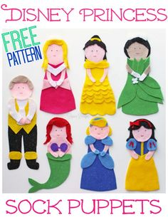 Learn how to make a sock puppet fit for a queen with these fantastic felt crafts. Skip the trip to the store, and make these homemade toys instead! Disney Princess Sock Puppets are actually quite easy to make, especially since there's no sewing requi Disney Princess Crafts, Disney Crafts, Disney Princesses, Kids Crafts, Felt Crafts, Puppet Tutorial, Felt Puppets, Puppet Patterns, Operation Christmas Child