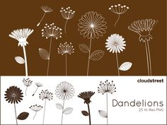 Dandelions clipart for personal and commercial use ( whimsical flower clip art ) INSTANT DOWNLOAD