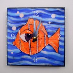 Clown Fish Clock 6 x 6 inches by MechelleDesigns on Etsy.