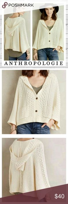 Anthropologie Rosie Neira Cape Cardigan Size M/L Amazingly soft and cozy cardigan style cape. Button down cable knit in ivory. Front pockets. Poncho styling. Excellent condition. Beautiful! Bundle and save. Sorry no trades. Anthropologie Sweaters Shrugs & Ponchos