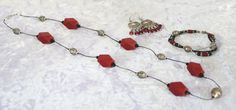 Red Wood Silver and Black Jewelry Set MCD3 by nenafashions on Etsy, $53.00