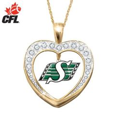 Would LUV this, but not in the gold tone, & if its anything like the ring, the logo is going to be too small to actually notice. Go Rider, Saskatchewan Roughriders, Rough Riders, Heart Pendant Necklace, Green Colors, Jewlery, Pride, Pendants, Football