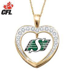 Saskatchewan Roughriders Reversible Heart Pendant Necklace