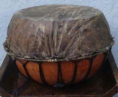 African-style gourd-based hand drum (bara): medium-large Free domestic shipping