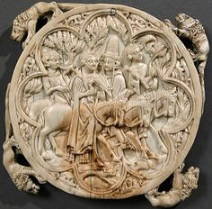 Mirror Case (back) - Falconing Party. 1350-75, French (possibly Paris).  Elephant ivory H. 4 5/16 in. (11 cm), Diam. 4 3/8 in. (11.1 cm) Gift of George Blumenthal, 1941 (41.100.160). Gallery 306. MMA.