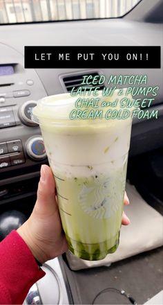 Low Calorie Starbucks Drinks, Healthy Starbucks Drinks, Yummy Drinks, Coffee Drink Recipes, Coffee Drinks, Starbucks Matcha Green Tea Latte Recipe, Matcha Latte Recipe, Smoothie Drinks, Smoothies