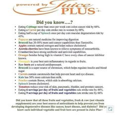 Juice Plus so any benefits from taking the products.
