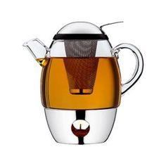 A tea pot with a built in heater (tea light, naturally)