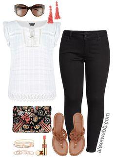 Plus Size Black Jeans Summer Outfit - Plus Size Fashion for Women - alexawebb.com #plussize #alexawebb