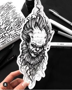 I T tattoos Scary Tattoos, Clown Tattoo, Body Art Tattoos, Sleeve Tattoos, Horror Movie Tattoos, Tattoo Design Drawings, Tattoo Sketches, Art Sketches, Tattoo Designs