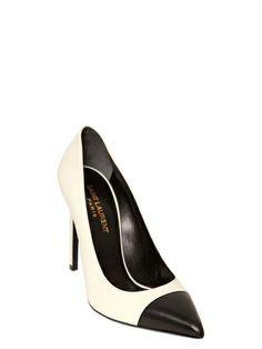SAINT LAURENT - 105MM PARIS TWO TONE POINTED PUMPS - LUISAVIAROMA - LUXURY SHOPPING WORLDWIDE SHIPPING - FLORENCE