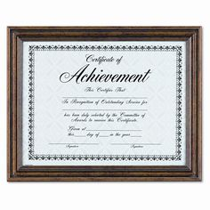 "Antique Colored Document Metal Frame with Certificate, 8.5"" x 11"""