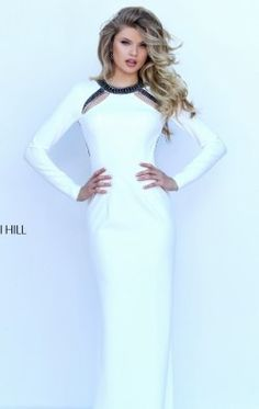 Long Sleeved Open Back Gown by Sherri Hill 50308