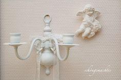 Vintage Kerzenständer - Wandleuchter Weiß Shabby - ein Designerstück von schoengemachtes- bei DaWanda