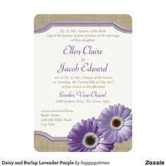 Daisy and Burlap Lavender Purple