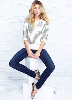 Stripes and snake pattern. Casual chic!