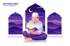 , Ramadhan Night - Vector Illustration- Suitable for your design needs, All elements on this template are editable with adobe illustrator! Editable Text, Before you open the Logo Flat Design Illustration, Digital Illustration, Graphic Illustration, Vector Design, Vector Art, Eps Vector, Character Flat Design, Maou Sama, Islamic Cartoon