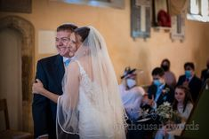 Documentary wedding photograph of bride and groom hugging after getting married in a church wedding ceremony in Dorset photograph by one thousand words wedding photography Church Wedding Ceremony, Documentary, Getting Married, Groom, Wedding Photography, Bride, Wedding Dresses, Fashion, Wedding Bride