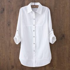Quality Cotton 2019 Spring Summer Women White Blouse Long-sleeved Slim Cotton Casual Work White Shirts Office Lady Button Tops with free worldwide shipping on AliExpress Mobile Long White Shirt, White Shirts, White Long Sleeve, Cotton Blouses, Shirt Blouses, Cotton Shirts, The Office Shirts, Work Shirts, Long Blouse