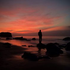 I rose before the sun. I win. #pacific #ocean #malibu #beach #rocks #sunrise #male #silhouette