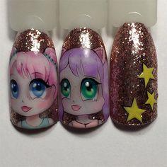 Фотография One Stroke Nails, Face Art, Dolls, Nail Design, Manga, Beauty, Finger Nails, Nail Manicure, Art