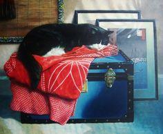 The Red Kimono. Tuxedo cat painting.