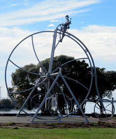 Arguably the coolest set of swings in the world! Steampunk playground