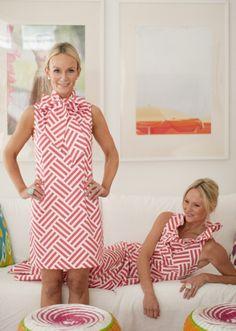 Devon Baer dress; fabric by Trenna Travis - Bekko - Parquet in Coral - for Michael Miller Fabrics