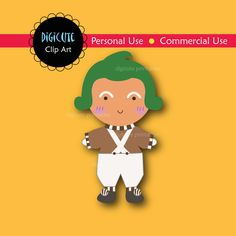Oompa Loompa from Charlie and the Chocolate Factory Digital CLIP ART personal and commercial use for cards, invitations, scrapbooking. $2.50, via Etsy.
