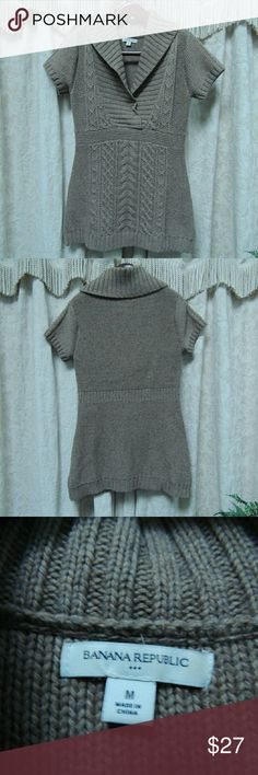Brown/tan sweater dress Short sleeve v neck with collar sweater dress Banana Republic Dresses Mini