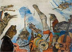 """James Ensor's, """"The Frightful Musicians,"""" this reminds me of the beach scene in Alice In Wonderland (1951). Two things I adore."""