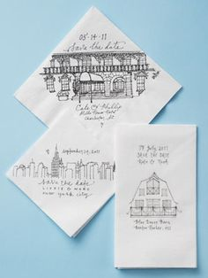 """25 Unexpected Invite Ideas You'll Love - Wedding Invitations - Wedding Stationery """"Save the Date - Napkins"""" #theKnot"""