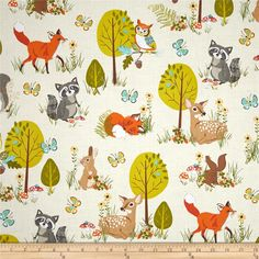 Robert Kaufman Forest Fellow Racoons Nature from @fabricdotcom  Designed by Sea Urchin Studio for Robert Kaufman, this fabric is perfect for quilting, apparel and home décor accents. Colors include cream, white, tan, brown, grey, yellow, blue/teal, lime green, forest green, orange and red/orange.