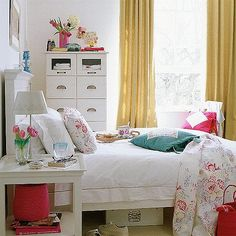 White is the perfect shade of bedroom design for every occasion. These 20 white bedroom ideas will help you create the perfect bedroom designs you always dream of. Girls Bedroom, Cute Teen Bedrooms, Retro Bedrooms, Girl Room, Bedroom Decor, Bedroom Ideas, Bedroom Designs, White Bedroom Furniture For Adults, Small White Bedrooms