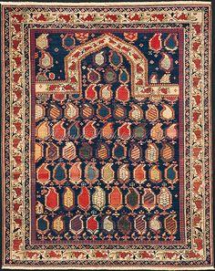Caucasian Shirvan Marasali prayer rug. A classic Marasali prayer rug with colorful botehs and Marasali border. Marasali rugs are a type of Shirvan rug.