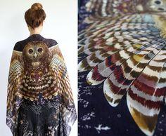 Owl art cotton scarf NIGHT version Hand painted printed par Shovava