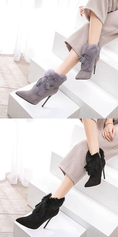 Material:Suede|Heel Height:10cm|Embellishment:Fringe  #boots #fashion #trends